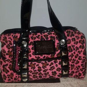 Pink leopard betsey johnson betseyville bag